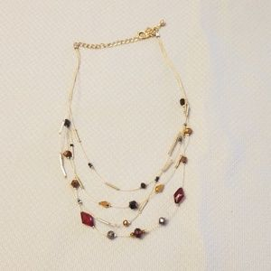Chico's Red Beaded Necklace